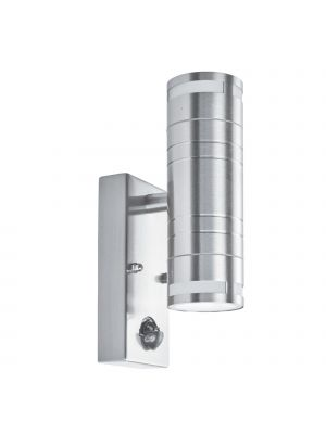 SearchLight 2 Way GU10 Stainless Steel PIR Tube LED Outdoor & Porch Light with Frosted Glass