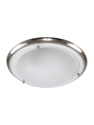 IP44 Flush LED Ceiling Light Satin Nickel