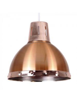 Portishead Satin Copper Domed NE Pendant With Polished Chrome Bandi
