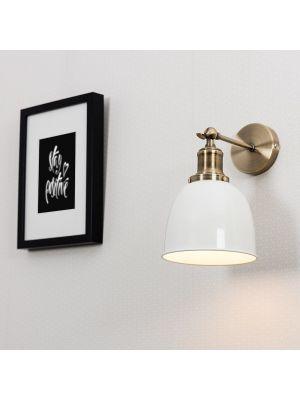 Wilhelm Antique Brass Style Wall Light Cream Metal Shade