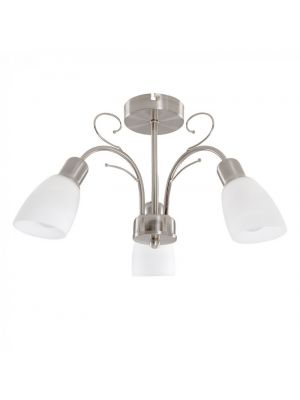 Newlyn Satin Nickel 3 Way Ceiling Light with White Glass Shades