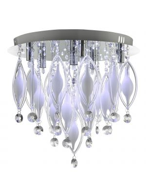 SearchLight Remote Controlled 6 Light Chrome Flush Spindle Ceiling Light with Glass Droplets