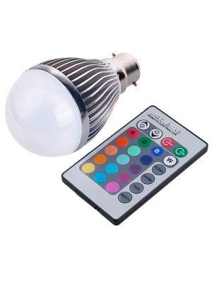 B22 RGB 7w LED Bulb Globe, 480 Lumens With Remote Control