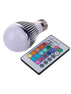 E27 RGB 7w LED Bulb Globe, 480 Lumens With Remote Control