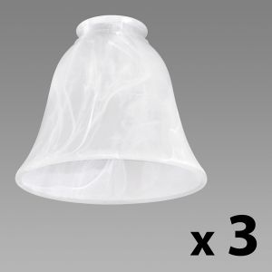 Set of 3 Marble Effect Glass Shades - Tapered Bell Shape