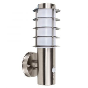 Grated Outdoor LED Wall Light with PIR Motion Sensor