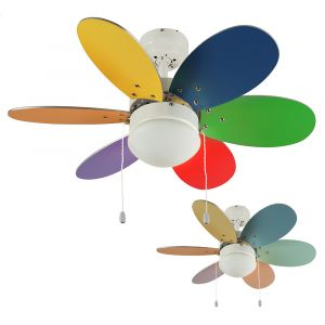 Candy Multi Coloured 30? Celling Fan with Opal Glass