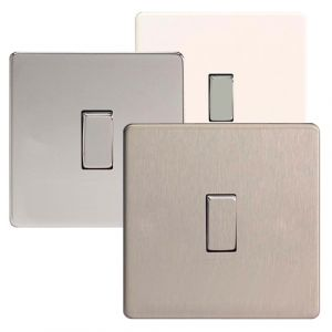 Varilight 1 Gang 1 or 2 Way 10A Rocker Light Switch Screwless Plate