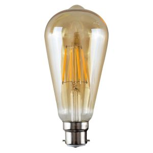 B22 4W LED Filament Pear Shaped Bulb Amber (Warm White 3000K)