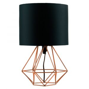 Angus Geometric Brushed Copper Base Table Lamp With Black Shade
