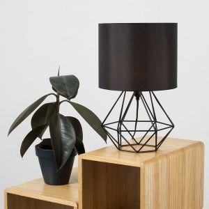 Angus Geometric Satin Black Base Table Lamp with Black Shade
