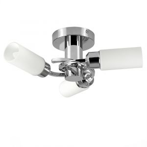Kompass 3 Way Satin Nickel Ceiling Light With White Cylinder Glass Shades