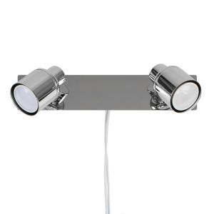 Benton Chrome Twin Spotlight With Cable Plug & Switch