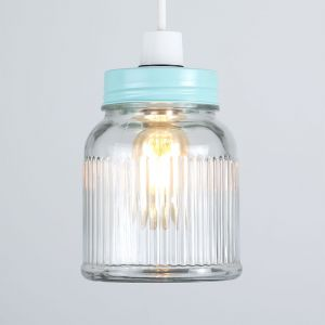 Ribbed Pattern Glass Jar NE Pendant Shade (Shade Only)