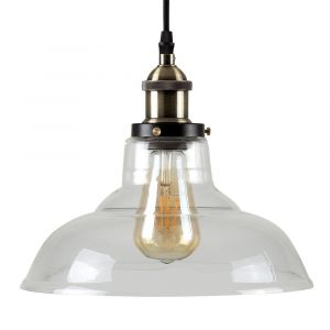 Wallace Steampunk LED Pendant Light With Clear Glass Shade