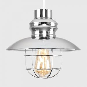Penglai Chrome Fishermans NE Pendant Shade With Wire Basket (Shade Only)