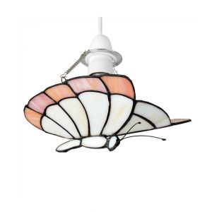 Papillion Tiffany White/Peach Butterfly NE Pendant Shade (Shade Only)
