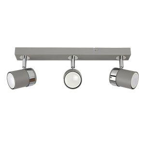 Rosie 3 Way Straight Bar Spot Light Cement / Chrome