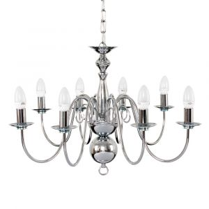 Gothica Flemish Style 8 Way Chrome Ceiling Light