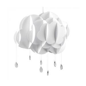 Children's XL White Cloud & Rain Drops NE Pendant Shade (Shade Only)