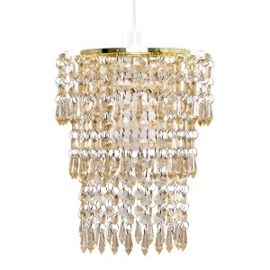 3 Tier Acrylic Droplet NE Pendant Gold/Champagne