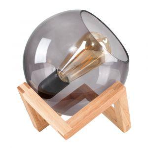 Cruz Glass Globe on a Wood Stand Table Lamp