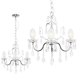 Varuna IP44 Chrome Bathroom Chandelier Glass Droplets