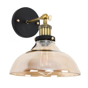 Wallace Steampunk Wall Light Amber with Glass Shade