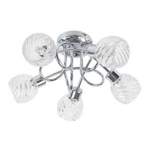 Reyka 5 Way Cross Over Chrome Ceiling Light Swirl Glass
