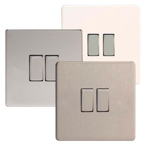 Varilight 2 Gang 2 Way 10A Rocker Light Switch Screwless Plate