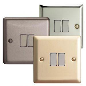 Varilight 2 Gang 2 Way 10A Rocker Light Switch Standard Plate