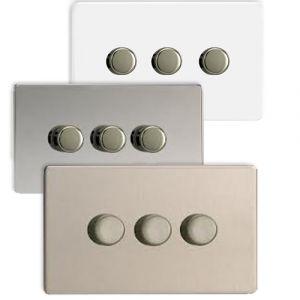 Varilight V-Pro 3 Gang 2 Way Screwless LED Dimmer Switch