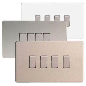 Varilight 4 Gang 1 Or 2 Way 10a Rocker Light Switch Screwless Plate