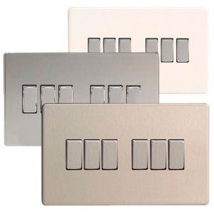 Varilight 6 Gang 1 or 2 Way 10A Rocker Light Switch Screwless Plate