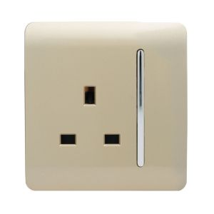 Trendi 1 Gang Artistic Modern Glossy 13A Plug Socket Long Gold