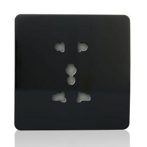 Trendi 1 Gang Artistic Modern Glossy Multifunction Plug Socket Black
