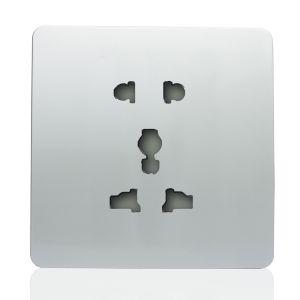 Trendi 1 Gang Artistic Modern Glossy Multifunction Plug Socket Silver