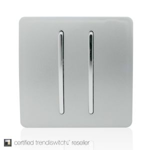 Trendi 2 Gang Intermediate Artistic Modern Glossy Screwless 10A Rocker Light Switch Silver