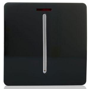 Trendi Artistic Modern Glossy 20 A Tactile Light Switch & Neon Insert Black