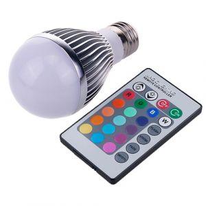 E27 RGB 7w LED Bulb Globe, 480 Lumens With Remote Control