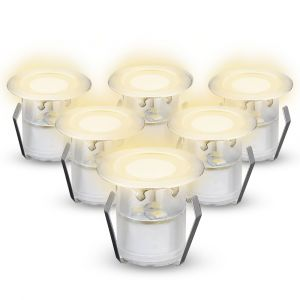 NeoDeck Warm White IP67 LED Decking Lights, 30mm Decking-Plinth-Stair 0.6W/LED