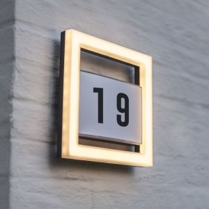 Alice Outdoor LED Wall Light With House Number