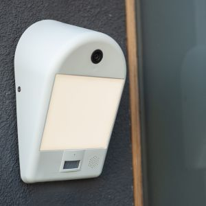 White Mimo Outdoor LED Wall Light With PIR Motion Sensor and Camera