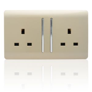 Trendi 2 Gang 13A Switched Socket Gold