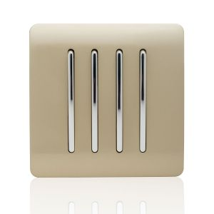 Trendi Light Switch 4 Gang 2 Way Gold
