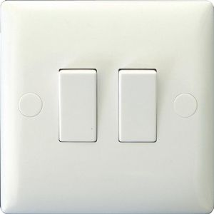 Varilight 2 Gang 1 Or 2 Way 10A Rocker Switch Polar White Economy