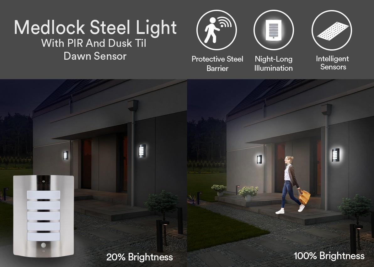 Medlock Stainless Steel Wall Light with PIR and Dusk til Dawn Sensor