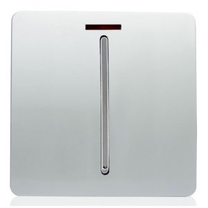 Trendi Artistic Glossy 20 A Tactile Light Switch & Neon Insert Silver