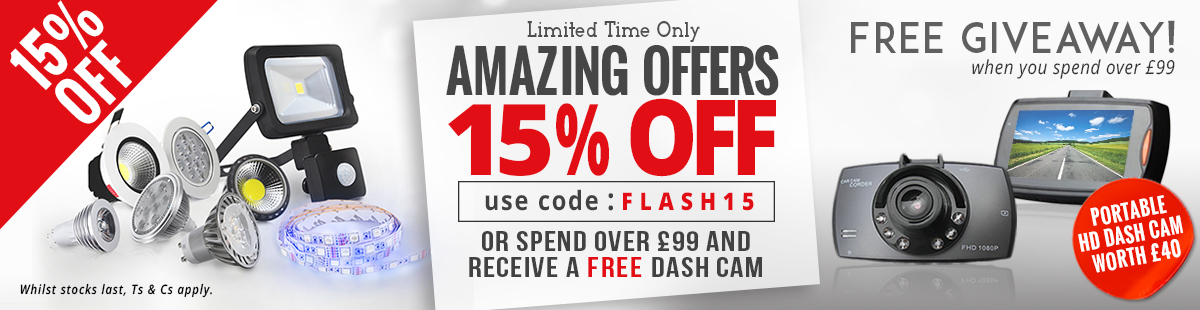 Special SALE LED Discount of 15% off in case you add to your shopping cart the code FLASH15