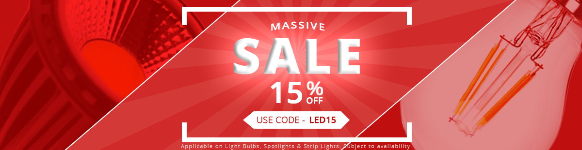 Mega Sale Discount of 15% off in case you add to your cart LED15